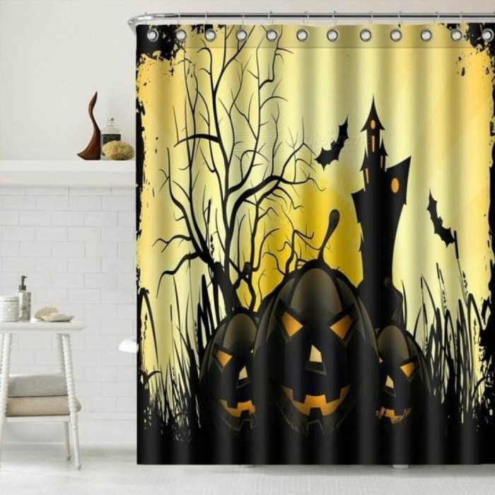 Happy Terror Pumpkin Halloween Themed Waterproof Shower Curtain Bathroom Decor Home Decor Accessories Printing Bath Curtains