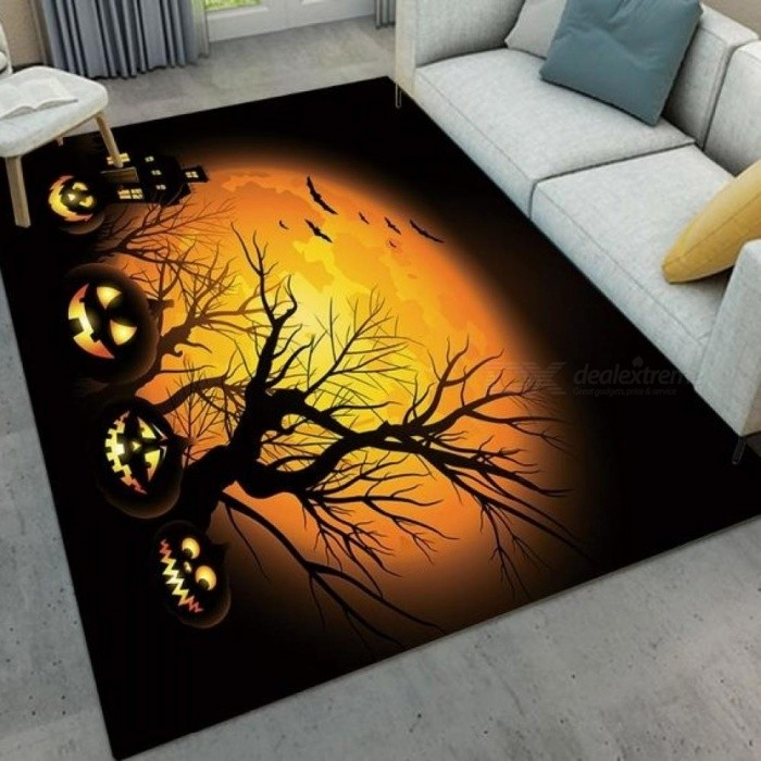 Yellow Moon And Pumpkin Lamp Halloween Living Room Cushion Children's Room Floor Carpets Kitchen Area Rugs Bathroom Non-Slip Mat