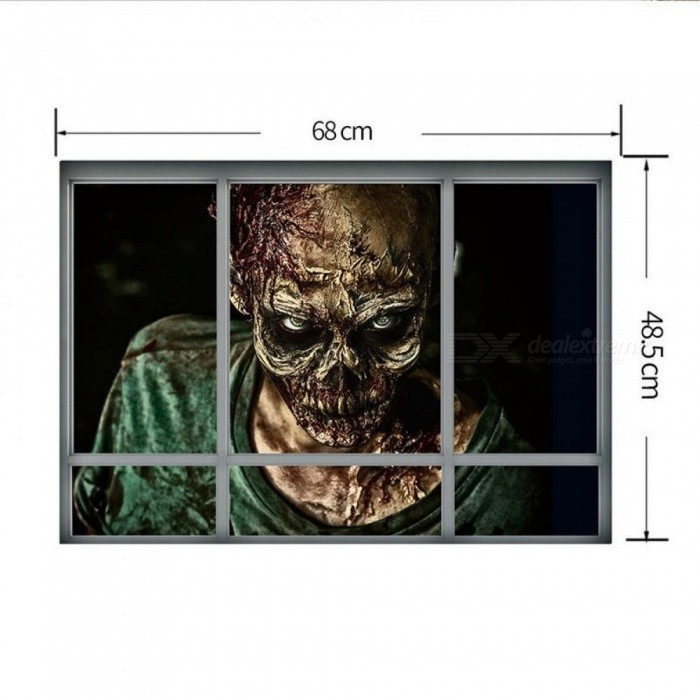Halloween Decoration 3D View Scary Bloody Broken Zombie Wall Ghost Wall Sticker Home Decor Mural Party Art 72 cm*48.5cm