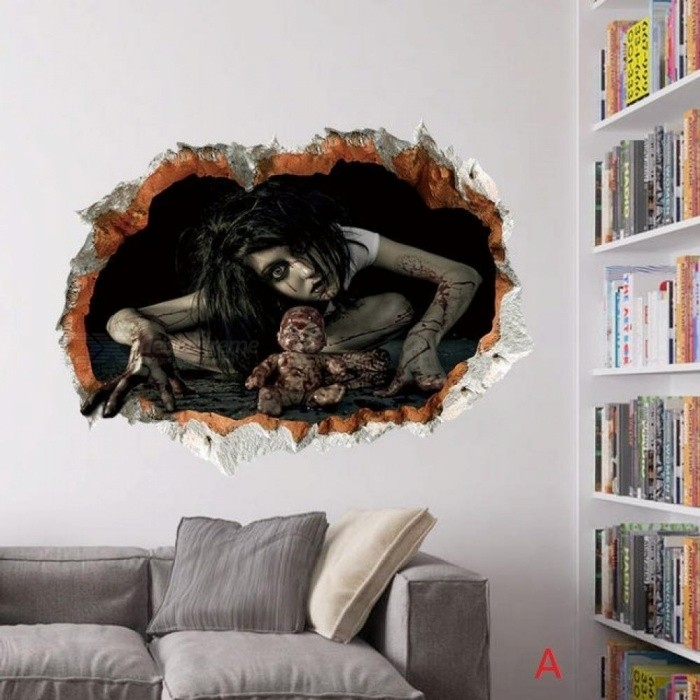Halloween Decoration 3D Ghost Wall Decals  Removable Scary Wall Stickers Wall Art Mural Decor Multi Style Optional