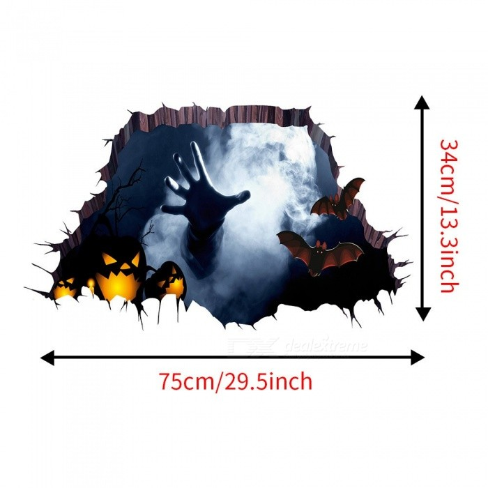 3D Happy Halloween Household Room Floor Wall Sticker Mural Decal Home Decor Removable Floor Decals Wall Art Stickers