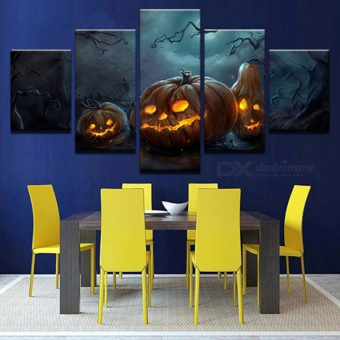 Modern Canvas HD Prints Home Decor Poster Wall Art 5 Pieces Halloween Pumpkins Lamp Paintings For Living Room Pictures Framework
