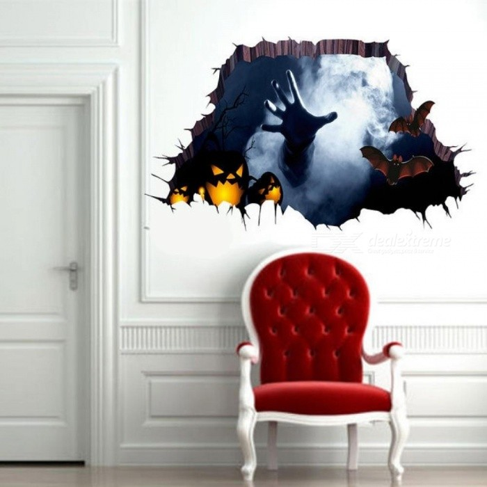 Halloween 3D View Scary One Hand Catch Spider Web Wall Sticker Floor Mural Removable Halloween Home Party Background Decoration