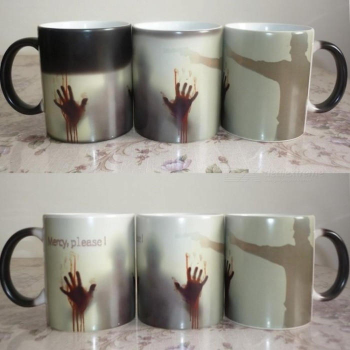 Arrive Mercy Please The Walking Dead Mugs Morphing Coffee Mugs Zombie Mug Novelty Heat Changing Color Mug Cup