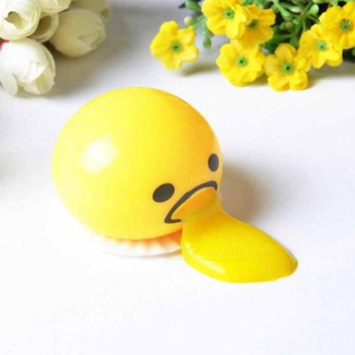 AntiStress Squishy Vomitive Egg Yolk Anti Stress Reliever Fun Gift Yellow Lazy Egg Joke Toy Ball Egg Squeeze Funny Toys
