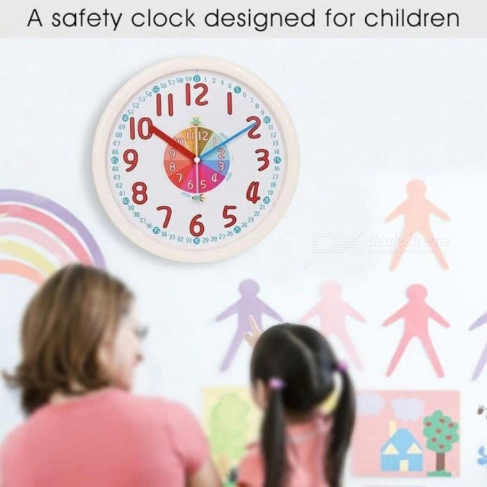12 Inch Kid Plastic Wall Clock Baby Nursery No Glass Large Wall Clock Kids Room Clock Silent Non Ticking Analog Quartz Home