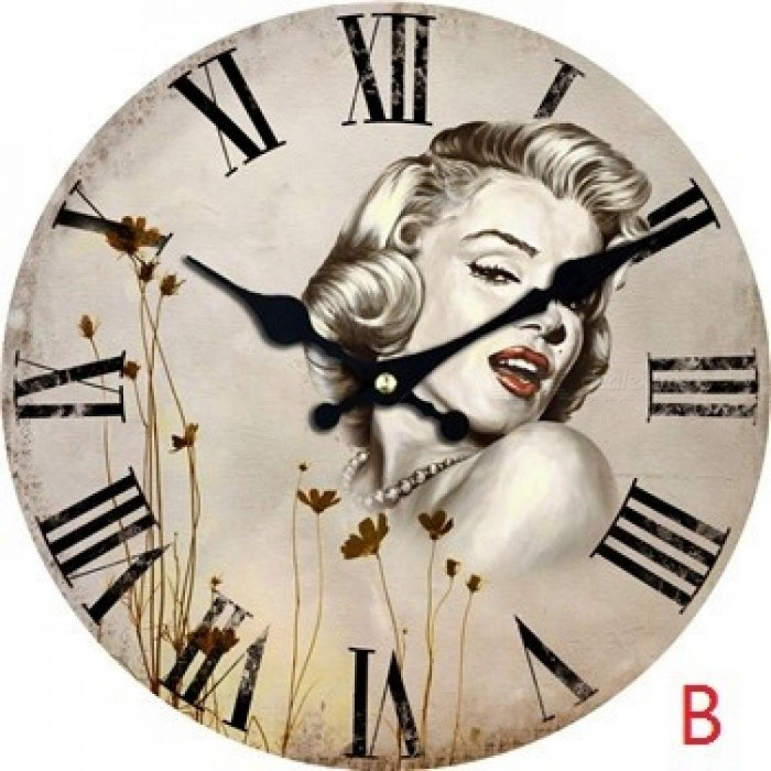 Marilyn Monroe Wall Clock Woman Design Fashion Silent Living Room Wall Decor Saat Home Decoration Watch Wall Cool Christmas Gift