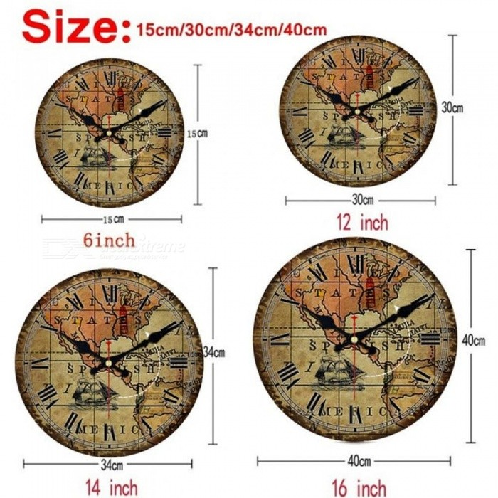Fashion Vintage World Map Wall Clock Silent Living Study Kitchen Bathroom Home Wall Decoration Art Watches Large Clocks