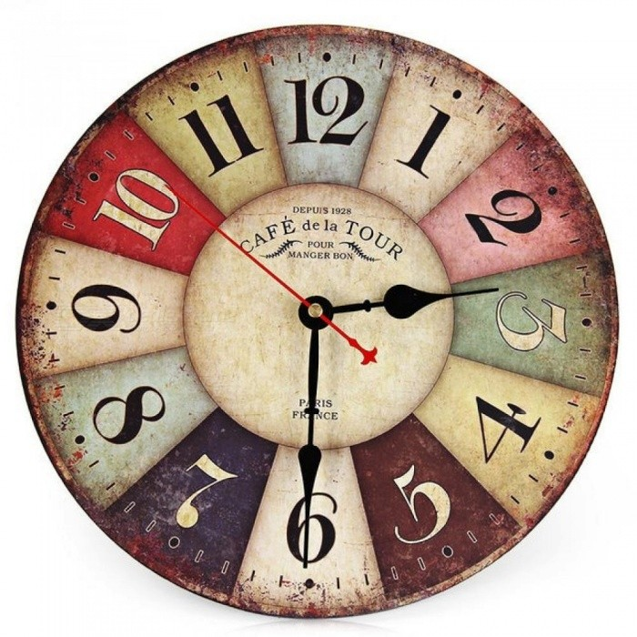 Artistic Silent Retro Creative European Style Round Colorful Vintage Rustic Decorative Antique Wooden Wall Clock