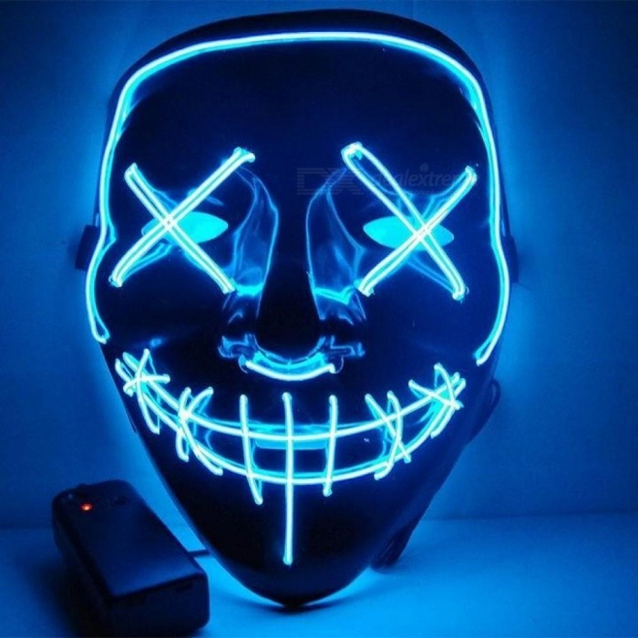 Halloween Masquerade LED Masks Lower Half Face Mask EL Wire Mask EL Flashing Mask With Music Sound Controlled Led Gift 1PCS/Lot