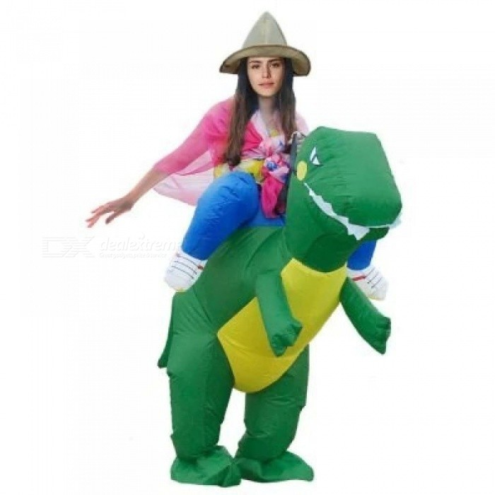 Purim Costumes Airblown Fan Operated T-Rex Inflatable Dinosaur Suit Outfit Costume for Kids and Adults Dinosaur Rider