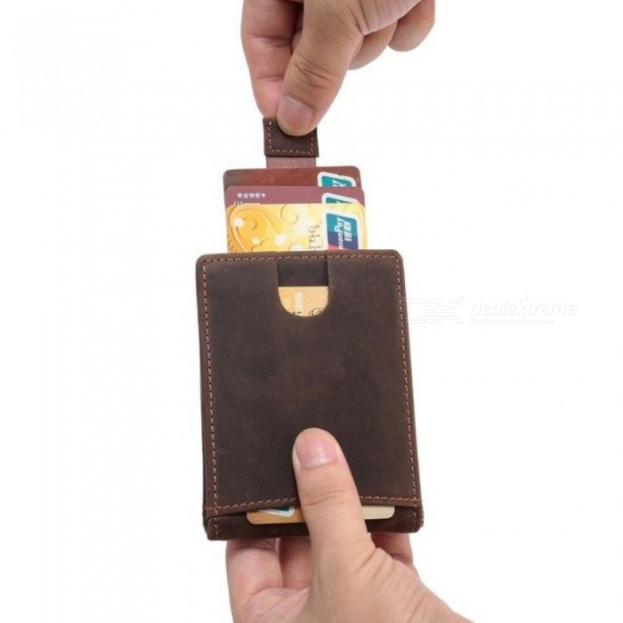 1ac91397acb68a Men RFID Blocking Slim Wallet Crazy Horse Leather Front Pocket Wallet  Genuine Leather Money Clip for Man Minimalist Clamp Purse Brown - Worldwide  Free ...