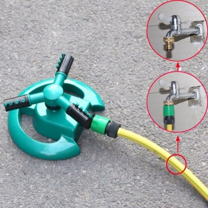 Garden Sprinklers Automatic watering Grass Lawn 360 Degree Circle Rotating Water Sprinkler 3 Nozzles Three Arm Garden Pipe Hose