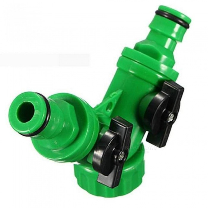 ABS Plastic Hose Pipe Tool 2 Way Connector Adapter 2 Way Tap Garden Hoses Pipes Splitters With Green Color