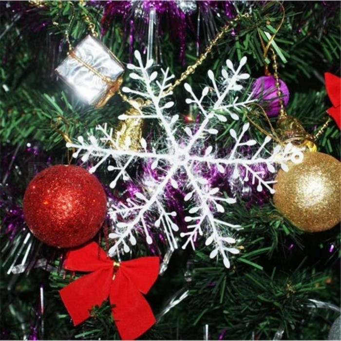 30Pcs Xmas Classic Charming White Snowflake New Year Party Holiday Christmas Ornaments Home Decorations
