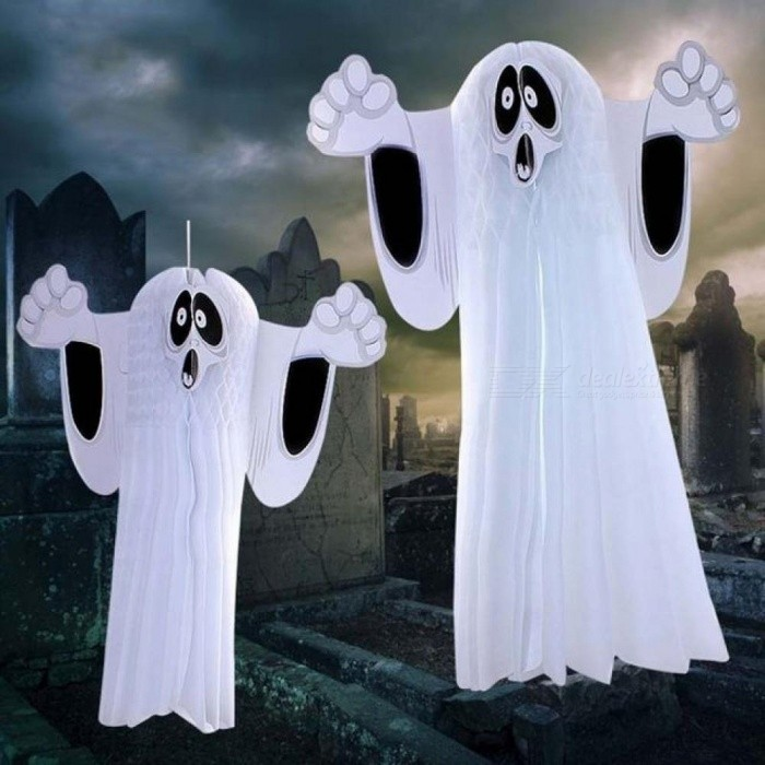 Halloween Party Decorations For Home Wall Hallway Ornaments Hanging Ghost Party Accessories Honeycomb Ball White Horror Props