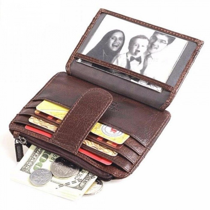 Thin Wallet Zipper Hasp Brand Design Genuine Leather Card Holder with Coin Pocket Bifold Male Purse Card Bag