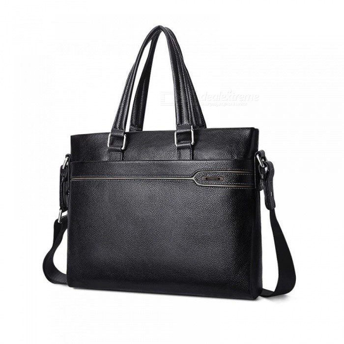 Business Briefcase Men Genuine Leather Handbag Work Shoulder Messenger Bags Leather Crossbody Bag bLACK