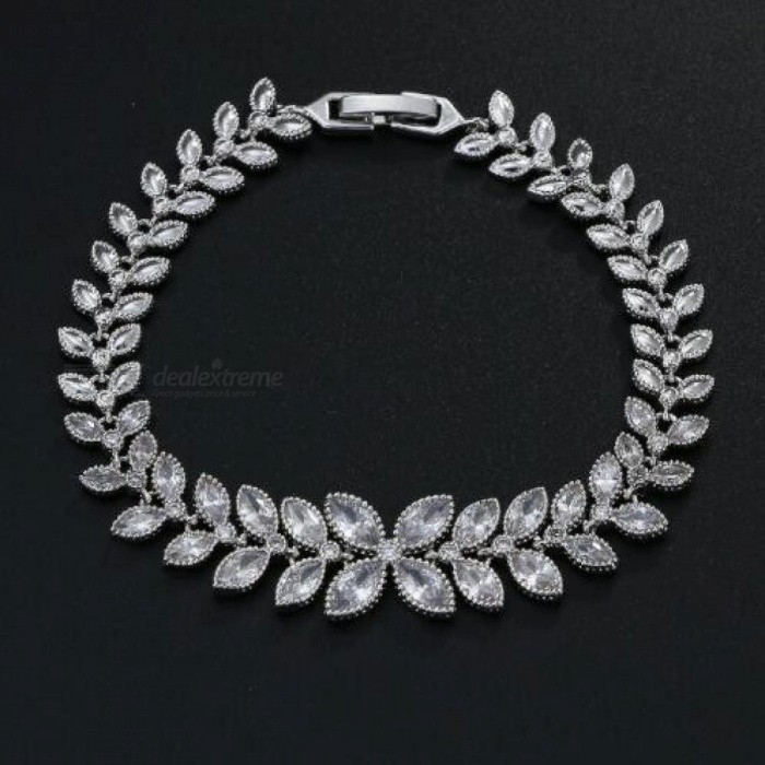 Elegant Leaf CZ Wedding Jewelry Sets for Bride Clear Crystal Necklace Earrings Sets Bridesmaid Jewelry Cubic Zirconia