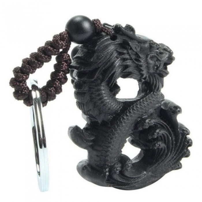 Chinese Traditional Handmade Wood Products Ebony Wood Good Luck Peace Winding Chinese Dragon Car Key Ring Pendant Keychain
