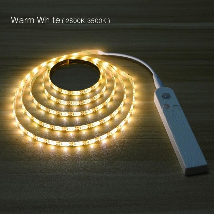 1M 2M 3M Wireless Motion Sensor LED Strip Battery Power Night light Under Bed lamp For Closet, Wardrobe, Cabinet, Stairs,Hallway