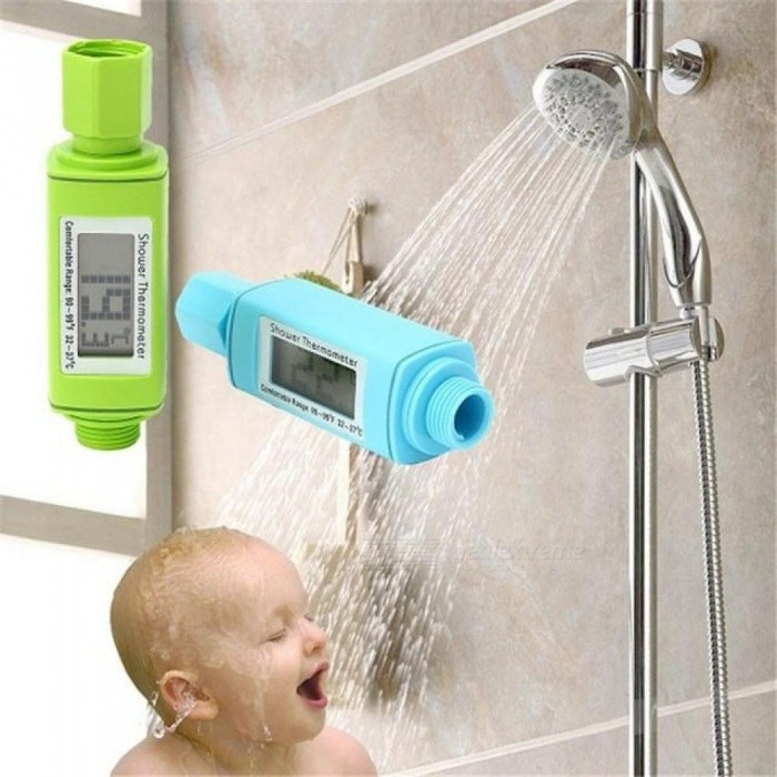 Waterproof Digital Shower Head Water Thermometer LCD Display Standard Bathroom Shower Thermometer Plug And Play 0 ~ 60 Degree