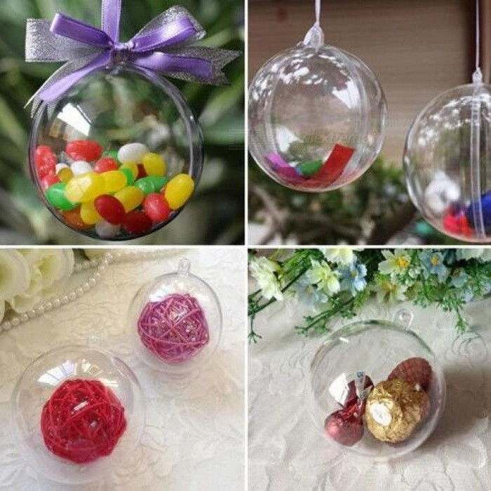 5 Pcs 4-8cm Transparent Hanging Ball New for Xmas Tree Bauble Clear Plastic Home Party Christmas Decorations Gift Craft