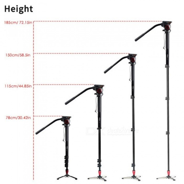 Professional Aluminum Portable Camera Monopod with Hydraulic Head Tripod Stand Unipod Holder with 1/4 3/8 Screw Travel