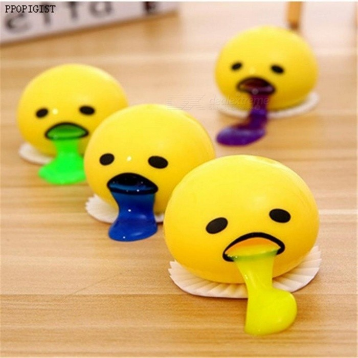 Lovely 12PCS/Set Cute Round Vomiting and Sucking Lazy Egg Yolk Vent Stress Tricky Squeeze Game Relief Toys Yellow
