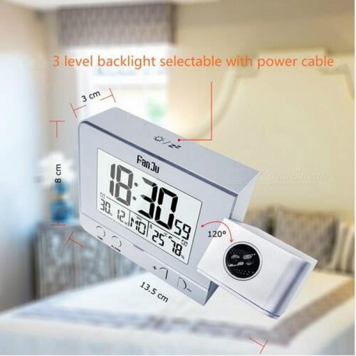 FanJu Projection Alarm Clock Digital Date Snooze Function Backlight Projector Desk Table Led Clock With Time Projection