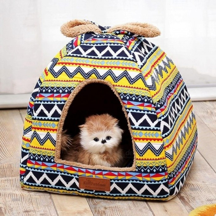 Retro Small Pet Dog Nest House Washable Bed For Cats Puppy Warm Sofas Chihuahua Kennel Basket Couch Mat
