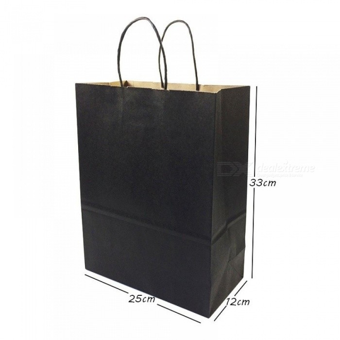 Gift Bags With Handles Multi-function Black Paper Bags 6 Size Recyclable Environmental Protection Bag 10PCS/Lot
