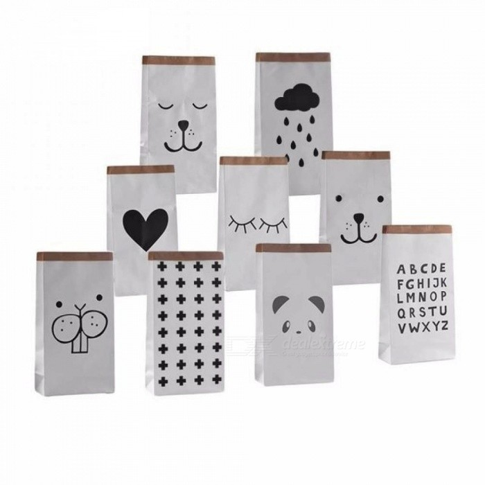 Cartoon Heavy Kraft Paper Storage Bag Pouch Pack Kid Toy Laundry Clothing  Sundries Organizer Home Decor Gift