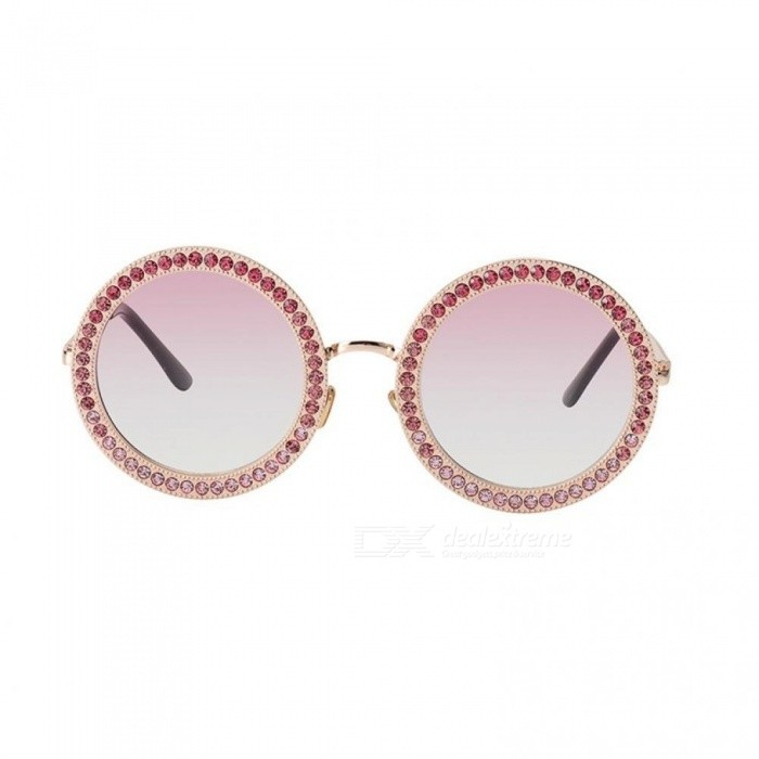 Women Round Crystal Sunglasses Brand Designer Luxury Rhinestone Sunglasses Shades Pink&Blue Color Optional