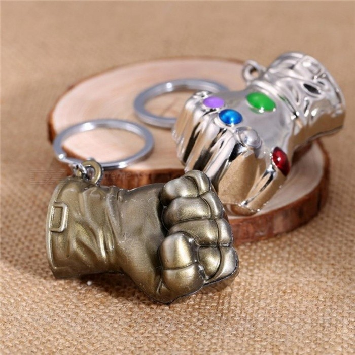 Movie Game Gifts Jewelry Thanos Infinity Gauntlet Keychain Metal Key Rings Chaveiro Keychain Jewelry 2 Colors