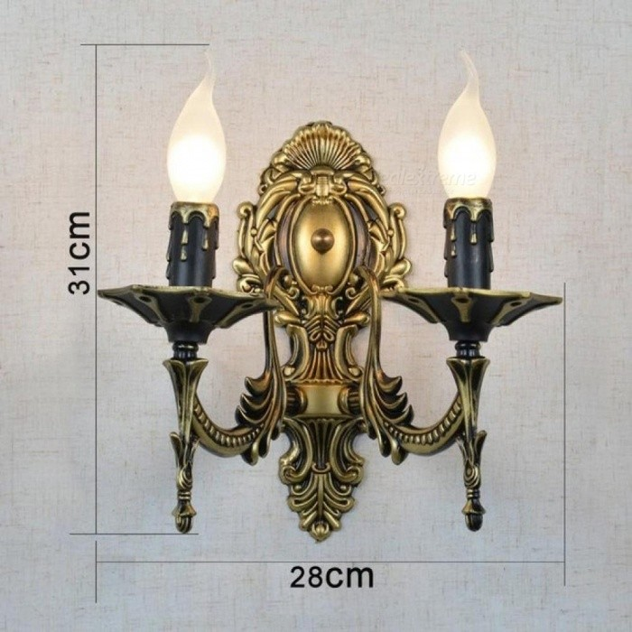 Easy to Clean 2 Arms Candle Wall Lamps Iron Vintage Hallway Wall Lamp Pull Tail LED Bulb Dining Room Wall Sconce Bathroom