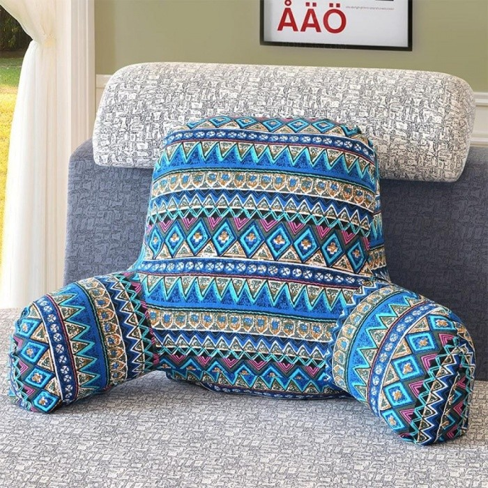 1-Piece Cotton Linen Backrest Cushion For Sofa Cushion For Bed Back Support Include Pillow Core Washable