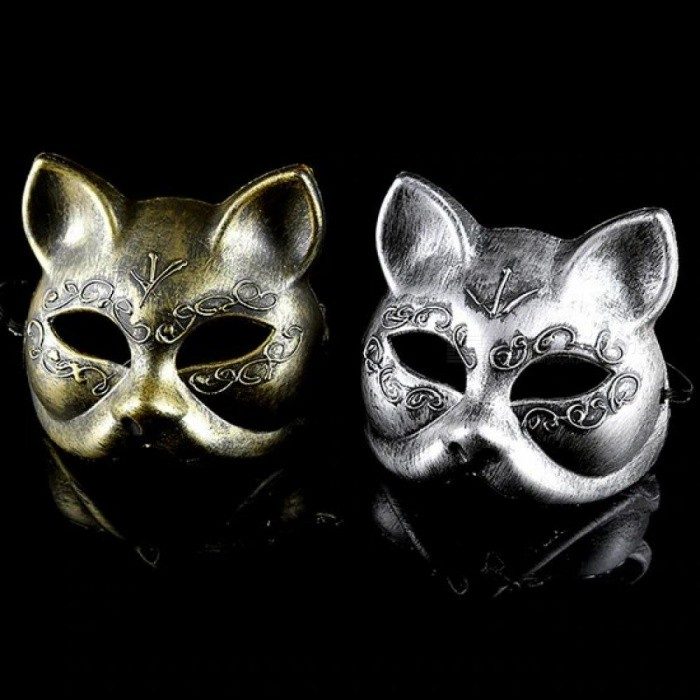 Old-Fashioned Gold And Silver Color Plastic Material Women Disguise Masquerade Cat Upper Half Face Masks