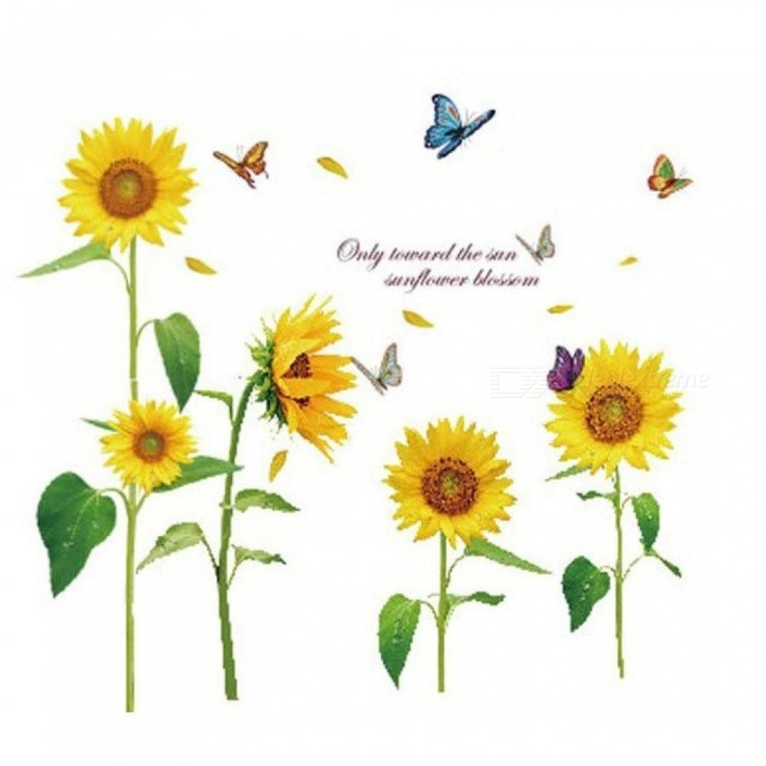 Sunshine Sunflower Butterfly Dancing in Summer Removable Wall sticker DIY Kids Child Room Decor Decal LM858 (90* 60cm)