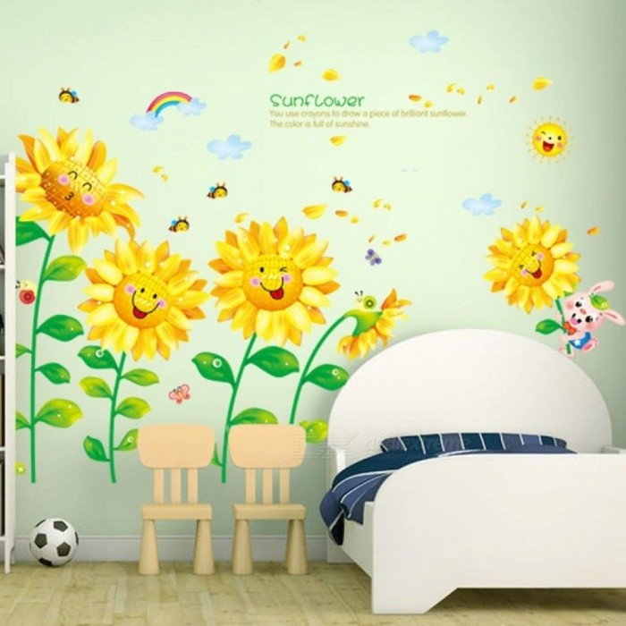 Removable Sunflower Wall Sticker Creative Turnsoles Wall Decals DIY Flowers for Living Room Kids Room Decoration
