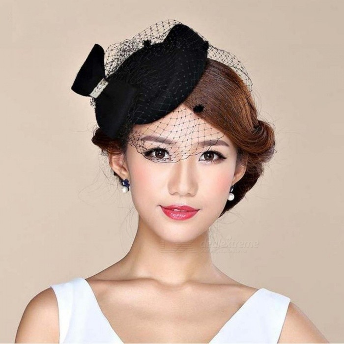 86bbd513e8b55 Fascinator Hats for Women Winter Embroidered Veil cotton Felt Pillbox Hats  for Formal Cocktail Party Wedding