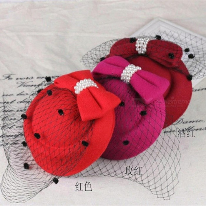 Fascinator Hats for Women Winter Embroidered Veil cotton Felt Pillbox Hats for Formal Cocktail Party Wedding Hats Dress Fedoras