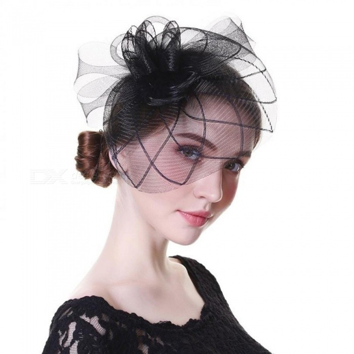 Women Chic Fascinator Hat Cocktail Wedding Party Church Headpiece Fashion Headwear Fancy Feather Black Hair Accessories