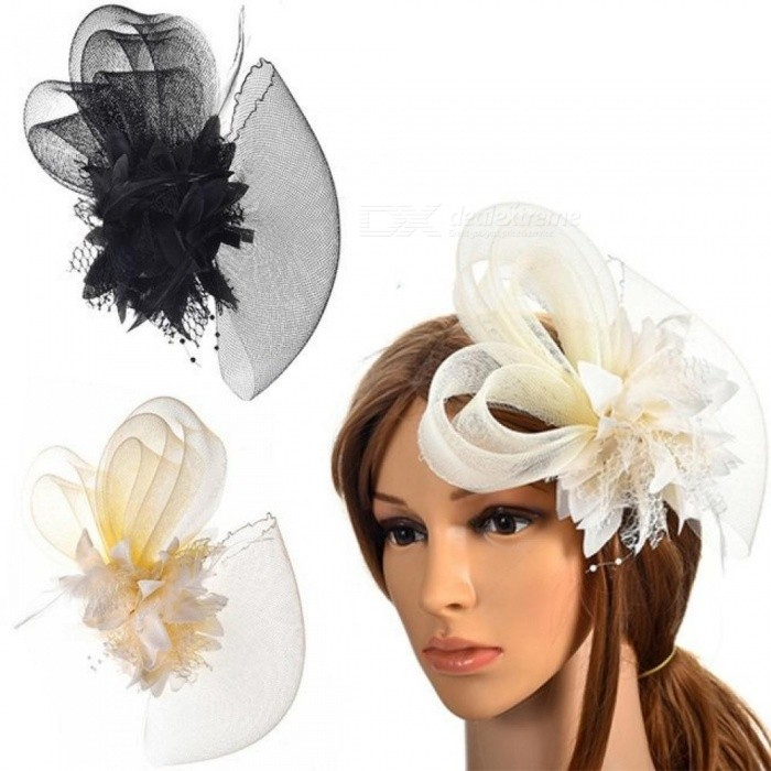 5f4392f3111 Flower Feather Hat Hair Grip Hair Pins Fascinator Hair Accessories  Headpiece Hair Clips For Women Party Wedding Festival White - Worldwide  Free Shipping - ...
