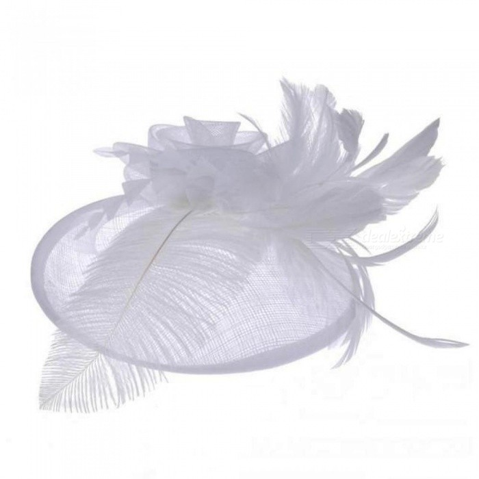 Net Feather Fascinator Big Headband Clip Wedding Bridal Women Tea Party Church Hat White&Gray Color Optional