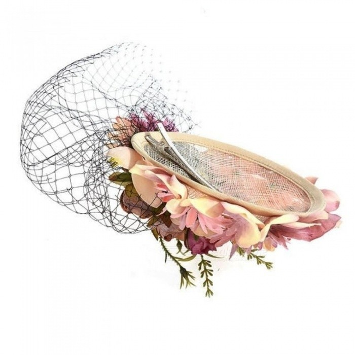 Retro Bride Hat Wedding Banquet Headwear Veil Fabric Flower Feather Headdress Hairpin Gauze Cover The Face
