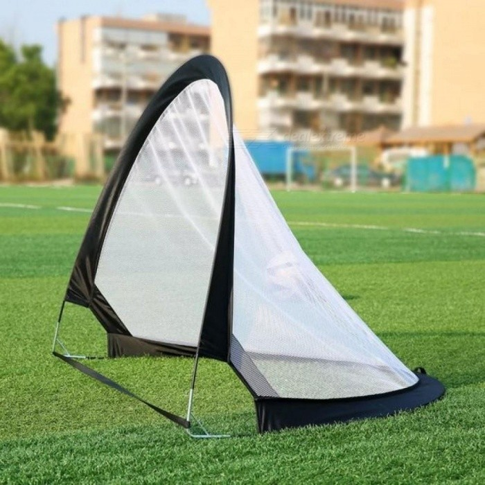 2 Pieces Soccer Football Goal Net Folding Black Training Goal Net Tent Kids Indoor Outdoor Play Toy