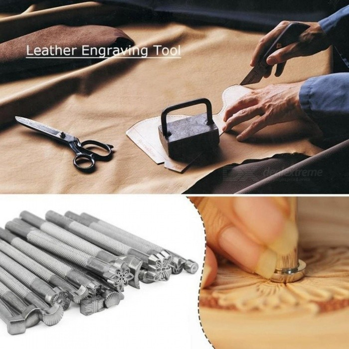 Leather Tools Working Saddle Making Set Carving Craft Stamps Punch DIY Working Leather Printed Punch Stamps 20PCS