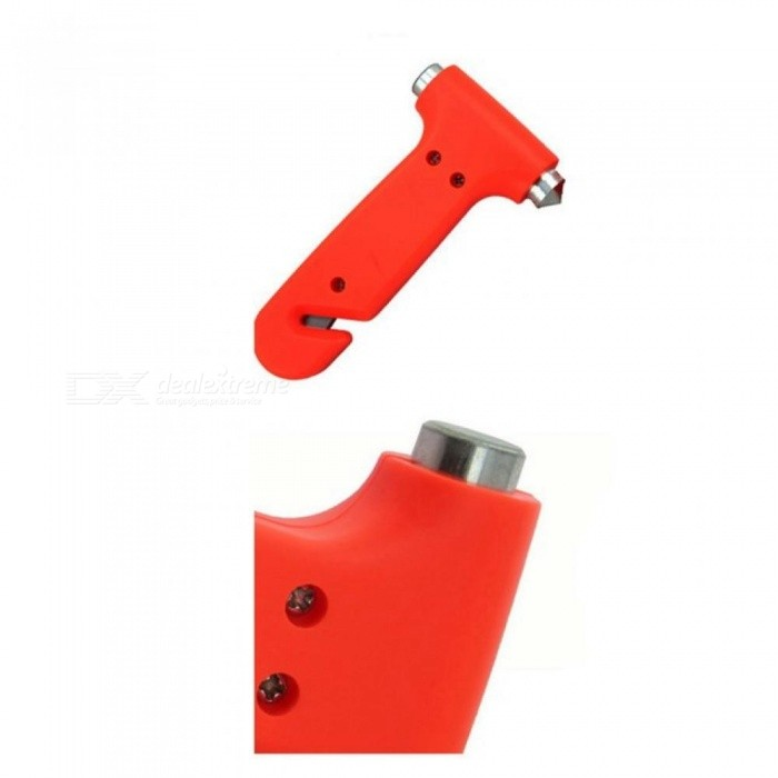 Multi-functional Vehicle Safety Hammer 2-in-1 Escape Hammer Car Window Breaker Seatbelt, Cutter With Red Color