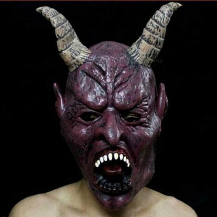 Horror Screaming Bloody Face Off Horror Mask Halloween Costume Mask Halloween Decorations Big Horns Demon Mask